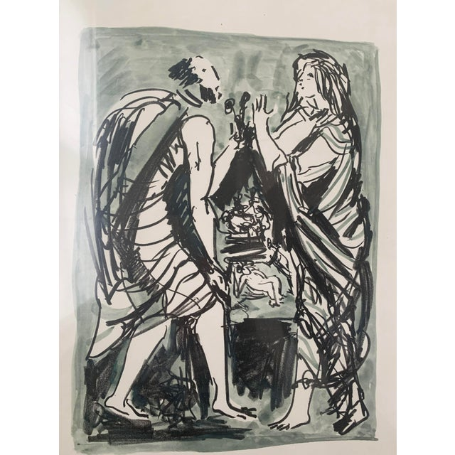Italian 1961 Italian Framed Watercolor Ink Sketch Painting of a Roman Man and Woman Wearing Togas For Sale - Image 3 of 10