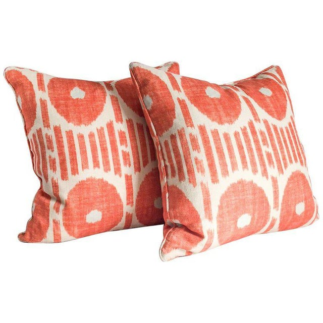 Primitive Thibaut Orange Ikat Pillow Pair With Down Inserts For Sale - Image 3 of 3