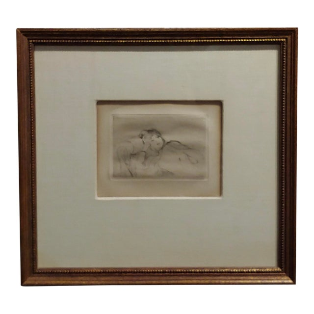 Berthe Morisot -Reclining Woman-Etching C1880s For Sale
