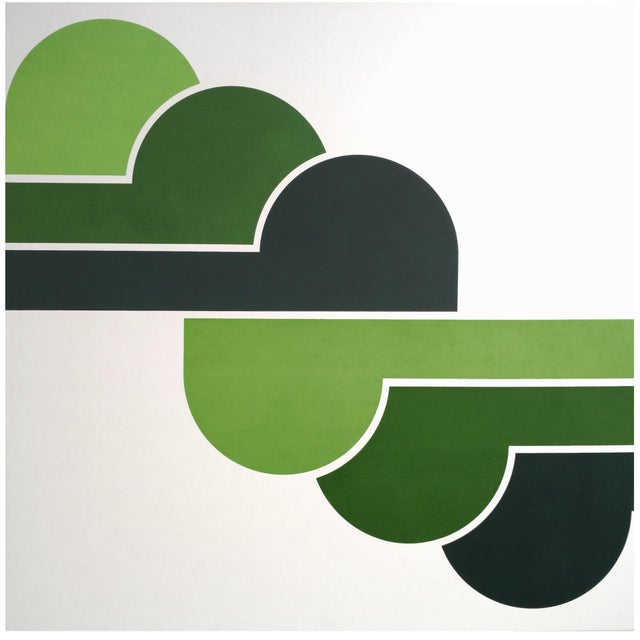 1970s Green Clouds Serigraph - Image 1 of 5