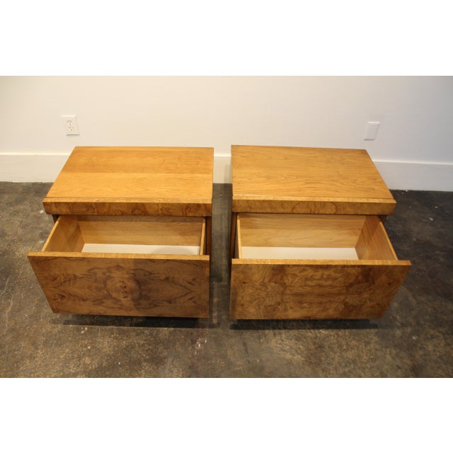 Milo Baughman Lane Furniture Milo Baughman Style Mid Century Modern Burl Wood Nightstands a Pair For Sale - Image 4 of 9
