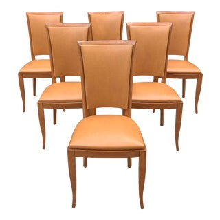 1940s French Art Deco Solid Mahogany Dining Chairs - Set of 6 For Sale