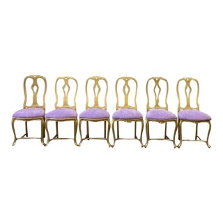Vintage Italian Gold and Purple Iron Side Chairs - Set of 6 For Sale