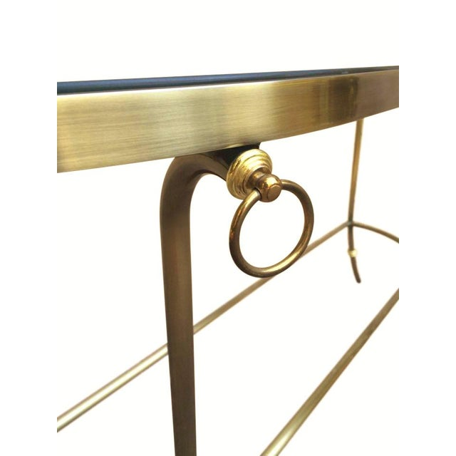 DIA - Design Institute America 1986 Design Institute of America Brushed Nickel & Glass Console Table For Sale - Image 4 of 6