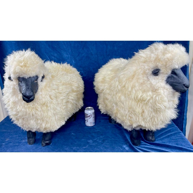 1990s Late 20th Century Lalanne Style Sheep Footstools - a Pair For Sale - Image 5 of 11