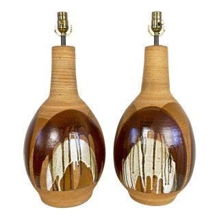 David Cressey Style Drip Glaze Studio Pottery Lamps - a Pair For Sale