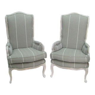 1970s Vintage Classic Wingback New Gray Upholstery Chairs- A Pair For Sale
