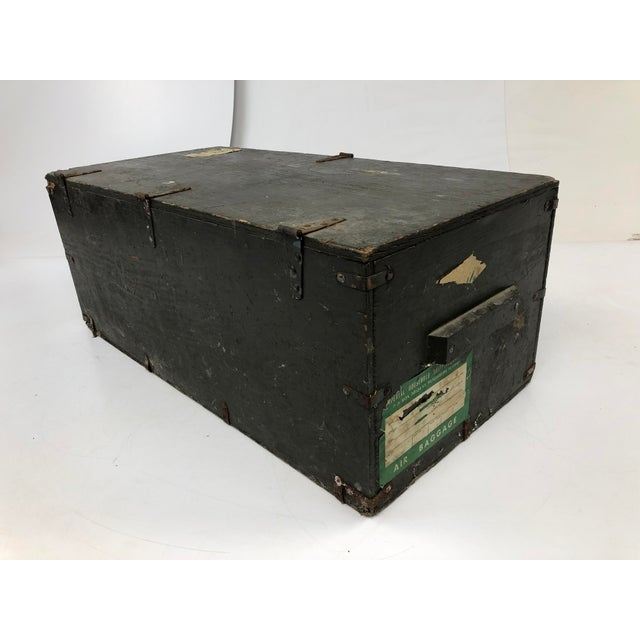 Wood Vintage Industrial Wood Military Foot Locker With Tray For Sale - Image 7 of 13