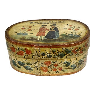 1820s Dutch Hand-Painted Wedding Box For Sale