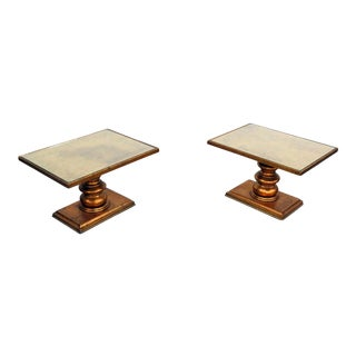 Hollywood Regency Style Glass Top End Tables - a Pair For Sale