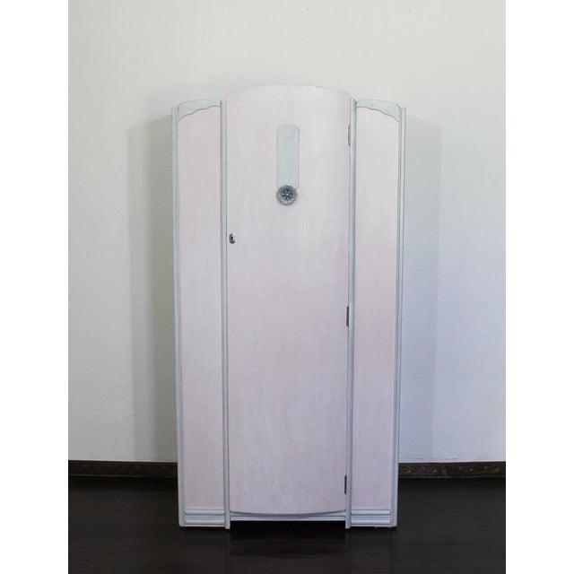 Paint Vintage Art Deco Light Pink Wood Armoire Wardrobe Storage Closet For Sale - Image 7 of 7