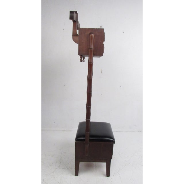 Mid-Century Modern Vintage Walnut and Vinyl Valet Chair For Sale - Image 3 of 13