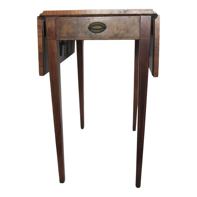 new product 6f9da 88f8e Vintage Heirloom Weiman Drop Leaf Side Table with Leather Top