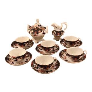 Unusual Antique English Imari Porcelain Tea Set 797 For Sale