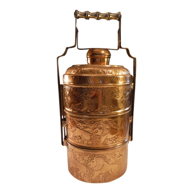 "Vintage Copper Clad ""Tiffin"" or ""Dabba"" - Image 1 of 9"