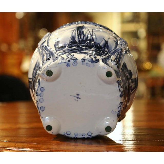 Blue Large 19th Century Dutch Hand-Painted Blue and White Ceramic Delft Cachepot For Sale - Image 8 of 10
