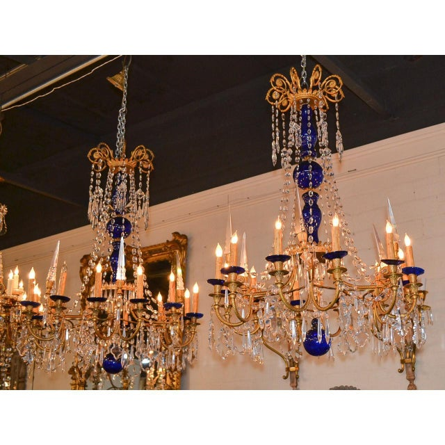 Blue 19th Century Pair of Russian Bronze, Crystal, and Cobalt Chandeliers For Sale - Image 8 of 9