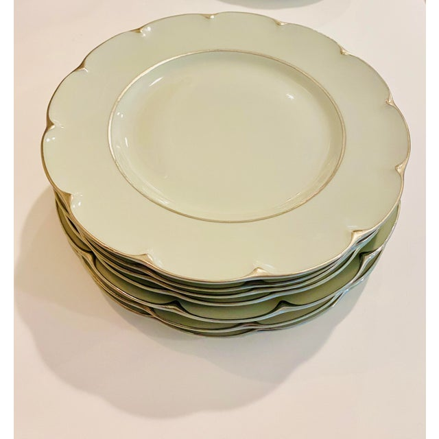 """Celadon Theodore Haviland """"Concorde"""" Limoges Celadon and Silver Scalloped Plates - Set of 13 For Sale - Image 8 of 11"""