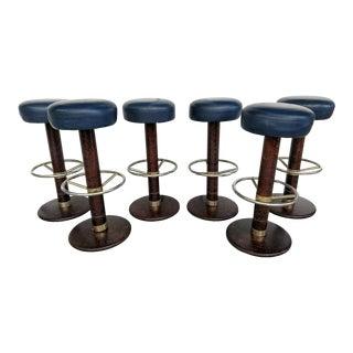 Dark Blue Leather Topped Bar Stools, Set of 6, Vintage For Sale
