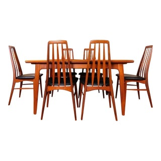 "Koefoed Hornslet Danish Solid Teak Extendable Dining Table & 8 ""Eva"" Chairs"