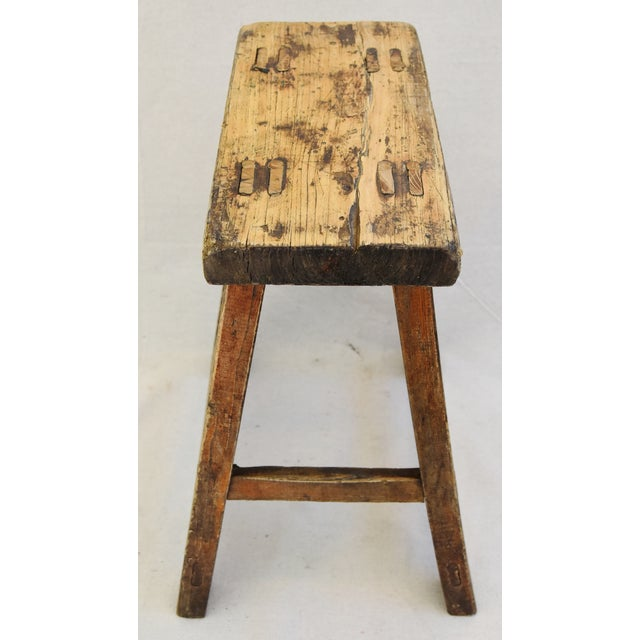 Rustic Primitive Country Wood Farmhouse Stool For Sale - Image 10 of 11