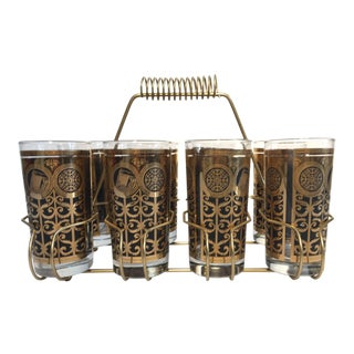 Vintage Eight Highball Black and Gold Glasses in a Brass Cart by Fred Press For Sale
