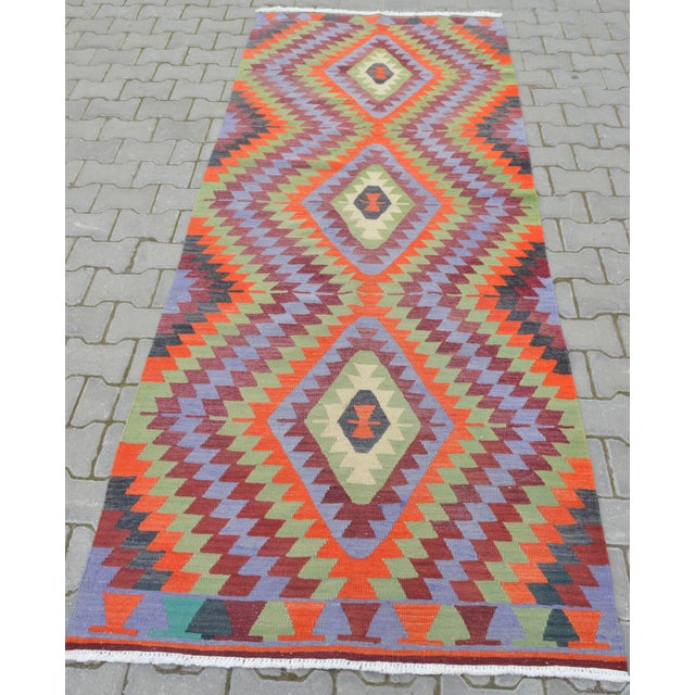 "Handmade Turkish Kilim Runner - 3'8"" X 9'8"" - Image 5 of 10"