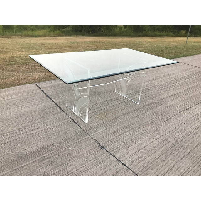 Vintage Frosted Lucite Dining Table For Sale - Image 4 of 5