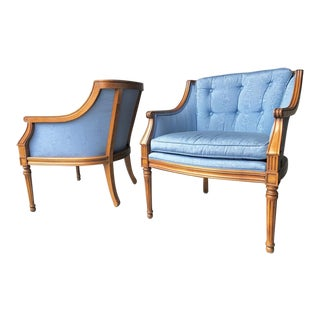 Hollywood Regency Button Tufted Arm Chairs - a Pair