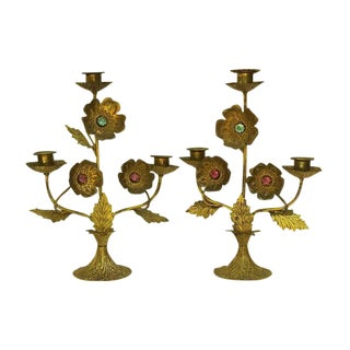 Antique French Church Candelabra w/ Faux Jewel Flowers - A Pair