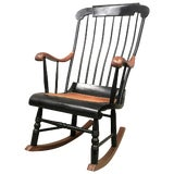 Image of 19th Hitchcock Rocking Chair With Woven Seat and Black Painted For Sale