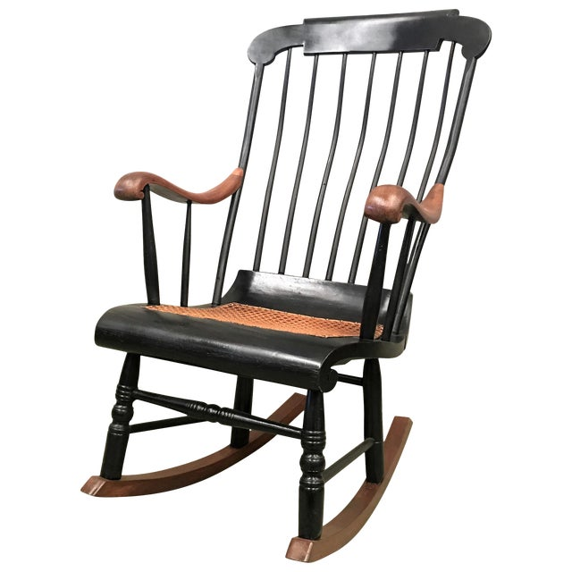 19th Hitchcock Rocking Chair With Woven Seat and Black Painted For Sale