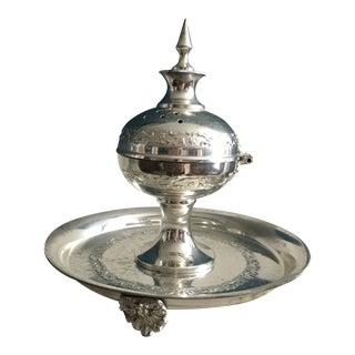Vintage Middle Eastern Style Silver Plate Incense Burner With Attached Plate For Sale