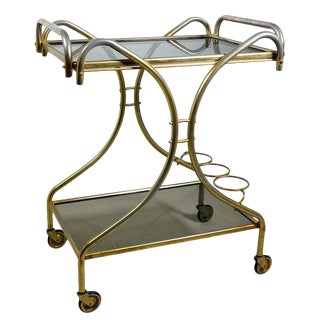 Vintage Smoked Glass Bar Cart For Sale