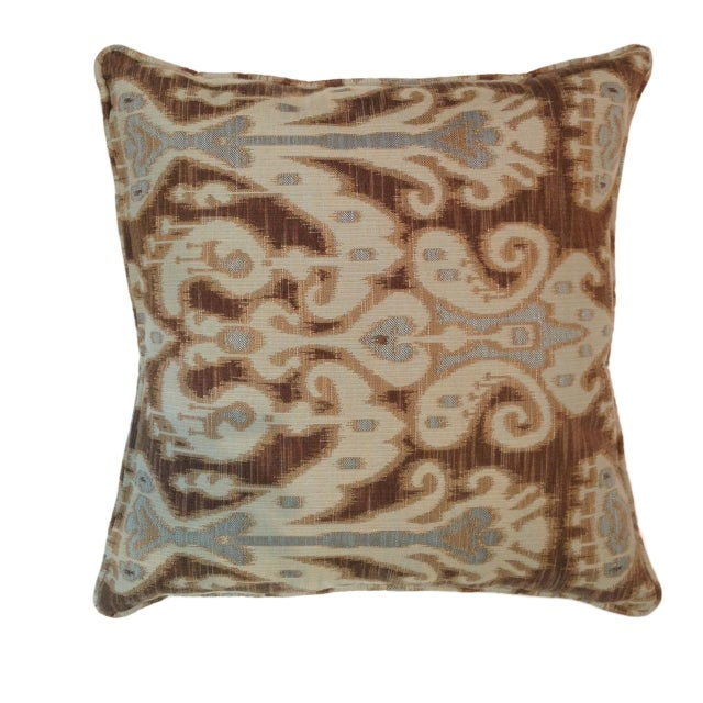 Taupe, Brown & Aqua Ikat Pillows - A Pair - Image 1 of 2