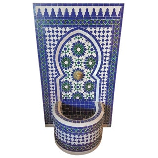 Modern Moroccan Blue & Green Mosaic Tile Fountain For Sale