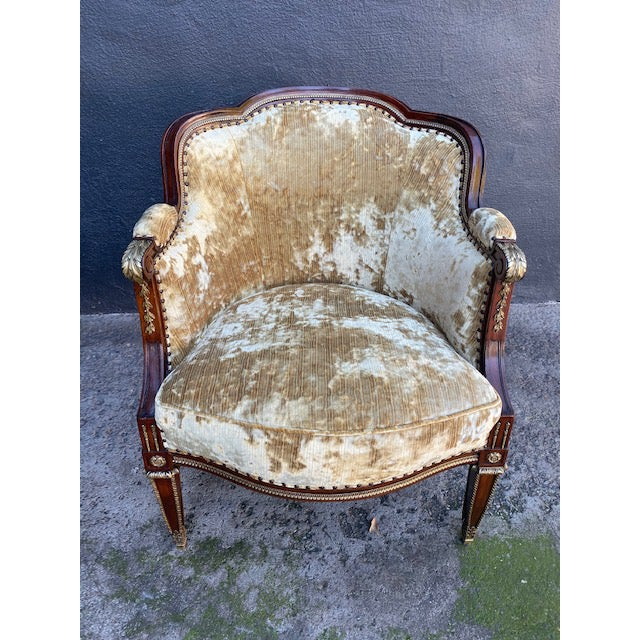 19th Century Vintage French Bronze Mounted Barrel Chair For Sale - Image 13 of 13