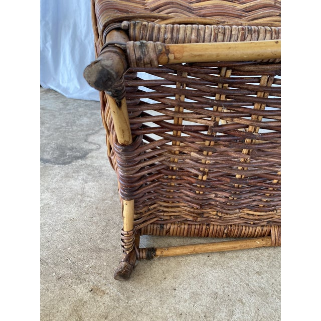 Boho Chic Vintage Wicker Braid Handle Basket For Sale - Image 3 of 13