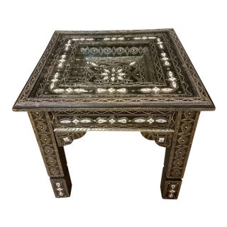 Moroccan Metal/White Resine Inlaid Side Table For Sale