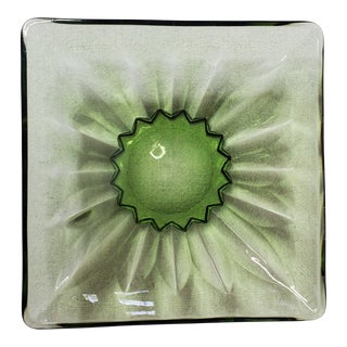 Vintage Green Cast Glass Dish For Sale