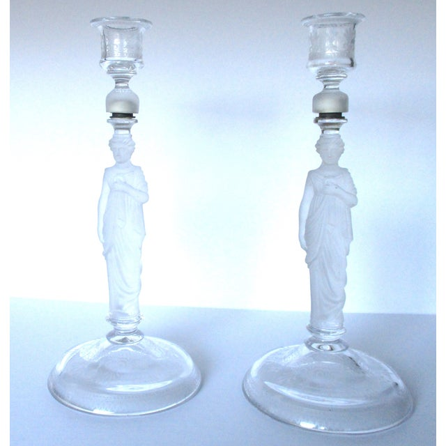 Victorian Camphor Glass Candlesticks - Pair - Image 2 of 9