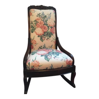 Victorian Floral Carved Rocking Chair For Sale