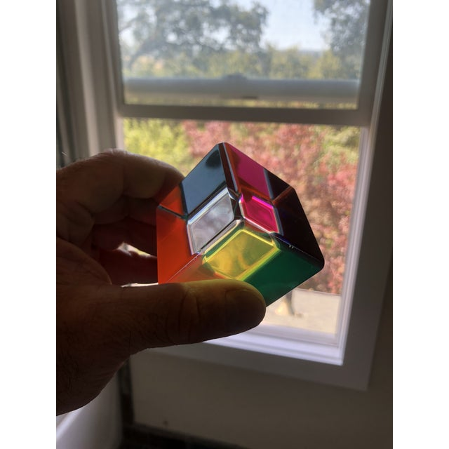 Modern Acrylic Prism Cube by Vasa For Sale - Image 3 of 9
