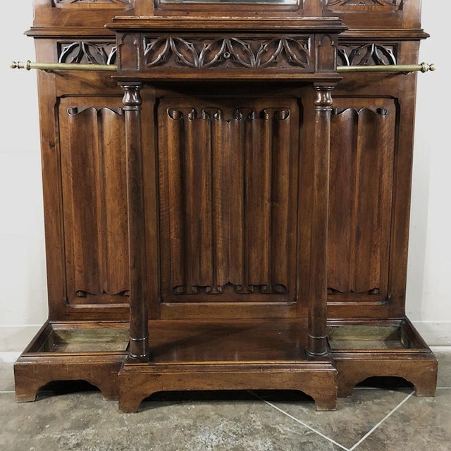 19th Century French Walnut Gothic Hall Tree For Sale - Image 9 of 12