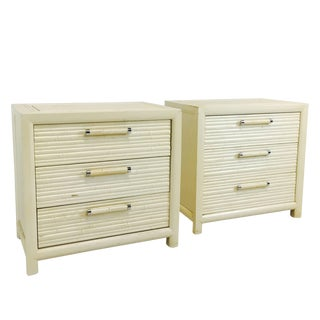 Pair of Faux Bamboo Nightstands by Century For Sale