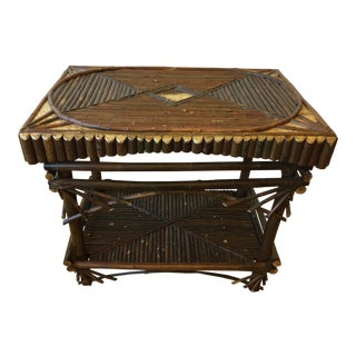 Boho Chic Handmade Wood Cabin Table For Sale