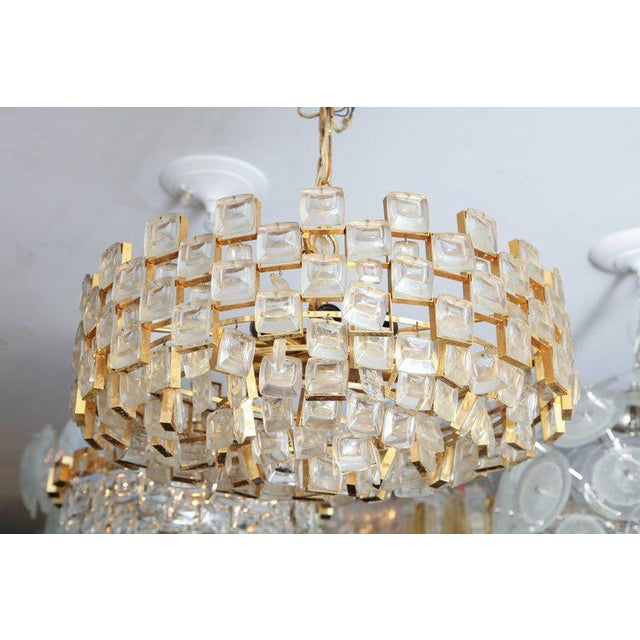 1960s Vintage Palwa Square Glass and Brass Chandelier For Sale - Image 5 of 10