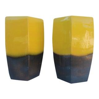 Vintage Yellow Ceramic Garden Stools - A Pair