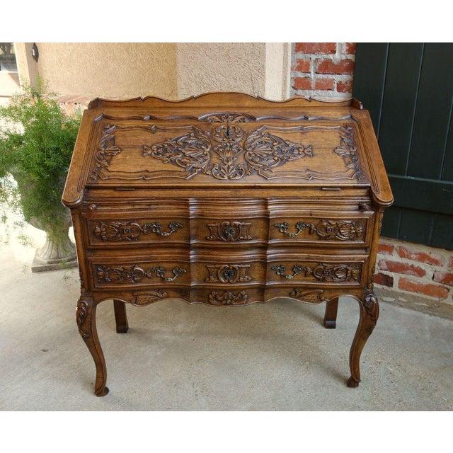 Antique French Carved Dark Oak Secretary Desk For Sale - Image 10 of 11 - Antique French Carved Dark Oak Secretary Desk Chairish