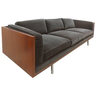 Milo Baughman Attributed Mid-Century Modern Wood Tuxedo Sofa For Sale
